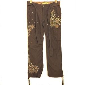 Miss Me Brown Embroidered Studded Cargo Pants